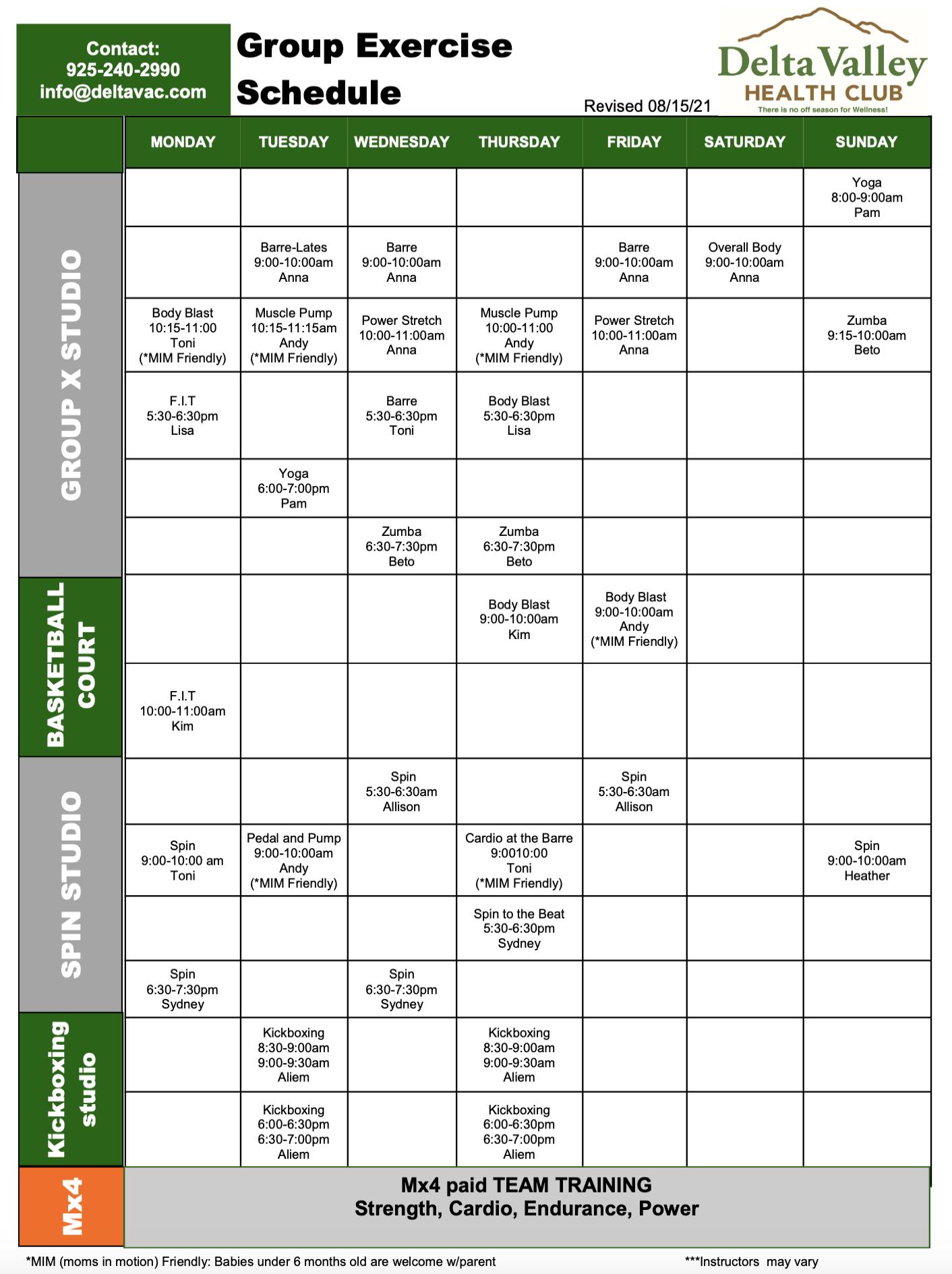GroupX Schedule